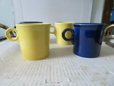 4 Fiesta Ring Handle Coffee Mugs 3 1/2 inches tall HLC Fiestaware Blue & Yellow