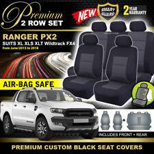 Premium Black FORD PX2 RANGER MK2 MK3 Dual Cab Seat Covers 2ROW XLT 6/2015-19 XL