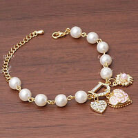 Fashion Women Elegant Heart Wedding Gold Rhinestone Bangle Cuff Bracelet Jewelry