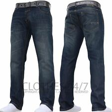 New Mens Crosshatch Straight Leg Dark Blue Jeans Pants All Waist & Sizes  C 1D