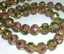 VINTAGE 49 GOLDEN CLOISONNE ROUND BEADS 8mm PINK WITH RED & GREEN FLORAL