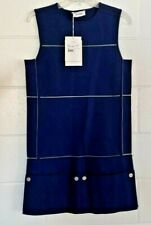 NEW Courreges Womens Shift Dress Blue Button Pockets Mini Sleeveless France 38