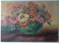 Tableau ancien Post-Impressionniste Bouquet d'Anémones Huile signée