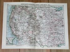 1932 ORIGINAL VINTAGE MAP OF WESTERN USA CALIFORNIA / INDIAN RESERVATIONS
