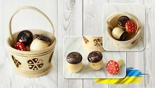 Ukrainian 3 Wooden Painted Mushrooms in Easter Basket Colorful Souvenir Handmade