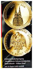 """Münze """"Berühmteste Sehenswürdigkeiten Deutschlands - Kölner Dom"""", 24 Karat Gold"""