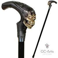GC-Artis Alien Skull Head Walking Stick Cane black wooden shaft costume party