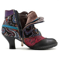 SOCOFY Womens Vintage Genuine Leather Ankle Boots Floral Splicing Zip Pump Shoes