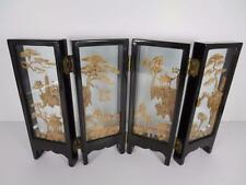 Vintage Chinese Four Panel Cork Sculpture Table Screen (#89-8)