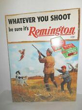 Vintage WHATEVER YOU SHOOT be sure it's Remington Tin Metal Advertising Gun Sign