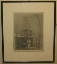Vintage '51 GRANT SIMON 'Independence Hall 1828' PHILADELPHIA Snowing Lithograph
