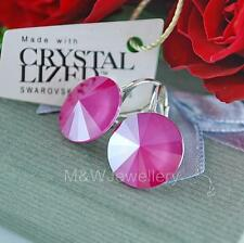 925 Sterling Silver Earrings RIVOLI Peone Pink 14mm Crystals From Swarovski®