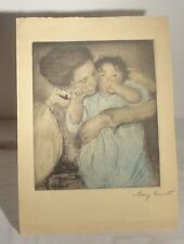 Antique Vintage Mary Cassatt Etching Print Aquatint Colored Signed Mother CHild