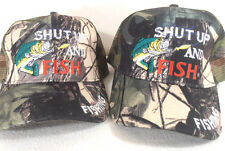 Lot Of (2) Fishing Hat Mesh Ball Cap Camouflage Shut Up And Fish Hat
