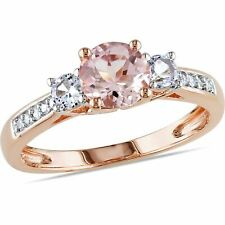Tangelo 1-1/7 Carat T.G.W. Morganite, Created White Sapphire and Diamond-Accent