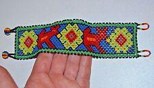 Religious Symbols Deer Medicine Peyote Huichol Tribal Mexican Beadwork Bracelet