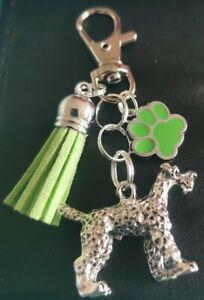 PAW PRINT & 3D dog KEYRING bag charm handmade brand new green