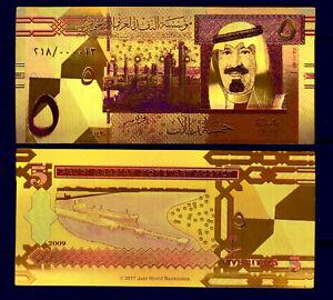 """ARABIE SAOUDITE / SAUDI ARABIA ★★ BILLET POLYMER  """" OR """"  COULEURS DU 5 RIYALS"""