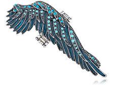 Vintage Blue Clear Aquamarine Crystal Rhinestone Angel Wing Fashion Ring