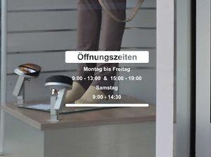 Öffnungszeiten Aufkleber Schild Tür Schaufenster Laden Geschäftszeiten offen