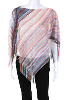 Missoni Womens Lightweight Triangle Fringe Poncho Pink One Size