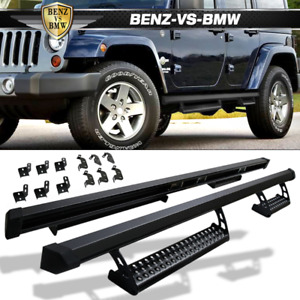 Fits 07-17 Jeep Wrangler 4-Door Offroad Side Steps Pads Running Boards Nerf Bars