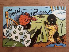 c1905 BLACK AMERICANA RACIST CHILDREN POSTCARD WAY DOWN SOUTH IN DIXIELAND