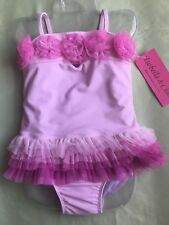 Isobella & Chloe Girl's Pink Ombré And Flower Appliqué 2 Piece Swimsuit Size 2T