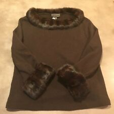 LES COPAINS FUR TRIMMED SWEATER ~ CHOCOLATE BROWN WOOL BLEND ~ SIZE 46