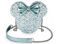 NWT Disney Parks Arendelle Aqua Sequined Minnie Mouse Loungefly Crossbody Purse