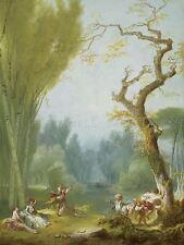 FRAGONARD jeu français HORSE RIDER vieille peinture poster bb5834a