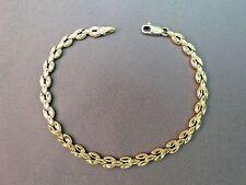 VTG 14k Yellow Gold Solid Link Bracelet 6g Designer 5mm Chain Diamond Cut Detail