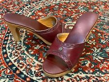 Vintage Aigner Burgundy Cordovan Leather Wood Heels Slides Brass A Italy 7 7.5 M