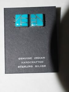 Ladies 10 stone Zuni Inlay Turquoise earrings sterling Silver signed