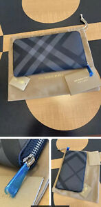 New Auth Burberry London Nova Check Plaid Leather Long Zip Around Wallet $550