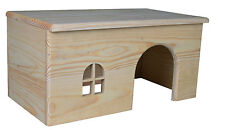 Flat Roof Pine Lodge Wooden House for Rabbits, Guinea Pigs, Degu & Small Rodents