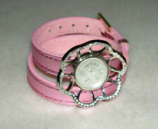 LALIQUE Pink Foil Leather Double Wrap CHARDON Crystal Rhinestone Charm Bracelet