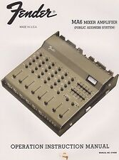 1977 NOS FENDER MA6 MIXER AMPLIFIER - Owners Operating Manual