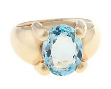 18Kt Yellow Gold Oval Shape Blue Topaz Ladies Ring