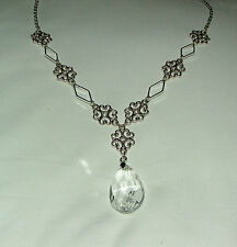 LACY FILIGREE VICTORIAN STYLE CLEAR FACET GLASS CRYSTAL DARK SILVER PL NECKLACE