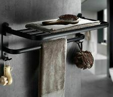 HOT Bathroom Towel Rail Rack Holder Hanger Bar Shelf Black Wall Mounted Aluminum