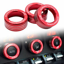 3x Ac Knob Control Volume Red Cover Rings Trim for Subaru Brz Frs Toyota 86