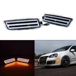 For 2006-09 MK5 Golf/GTI Clear Lens Amber Front Fender Side Marker Lamps LED Kit