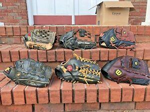 "Huge Lot 6 SOFTBALL Baseball Gloves Wilson Rawlings Nike Mizuno Adult 13"" SSK"