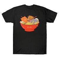Ramen and Cats Kawaii Anime Cat Japanese Funny Men's T-Shirt Black Navy Cotton