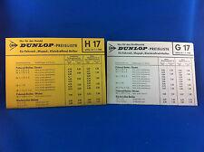 2 Dunlop Preislisten Fahrrad Moped Kleinkraftrad Reifen G17 H17 1968