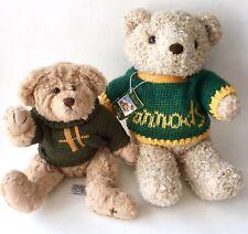 Harrods England Sweater Teddy Bears Stuffed Animal Plush Set of 2 Beige Green