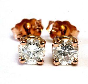 New 14k rose gold .71ct round diamond 4 prong stud earrings SI3 I 0.99g