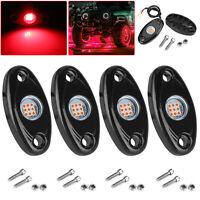 4 Pods Red LED Rock Lights Underbody Fog Light For Jeep Offroad Truck ATV Boat
