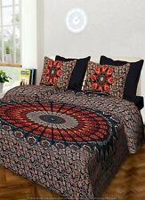 Indian Handmade Mandala Bedspread King Size Bedding Cover Bed Sheet Pillow Set